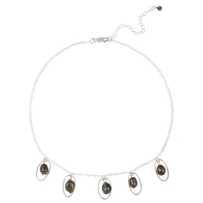Glitzy Rocks Sterling Silver Peacock Freshwater Pearl Necklace (8-9 mm)