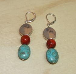 Susen Foster Silverplated Turquoise 'Casa Del Amor' Earrings - Thumbnail 1
