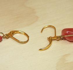 Goldplated Gilded Cherries Quartz Earrings - Thumbnail 2
