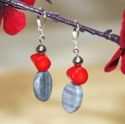 Silverplated Femme Fatale Marble, Coral and Onyx Earrings