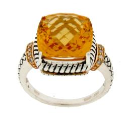 Meredith Leigh 14k Gold and Silver Citrine and Diamond Accent Ring