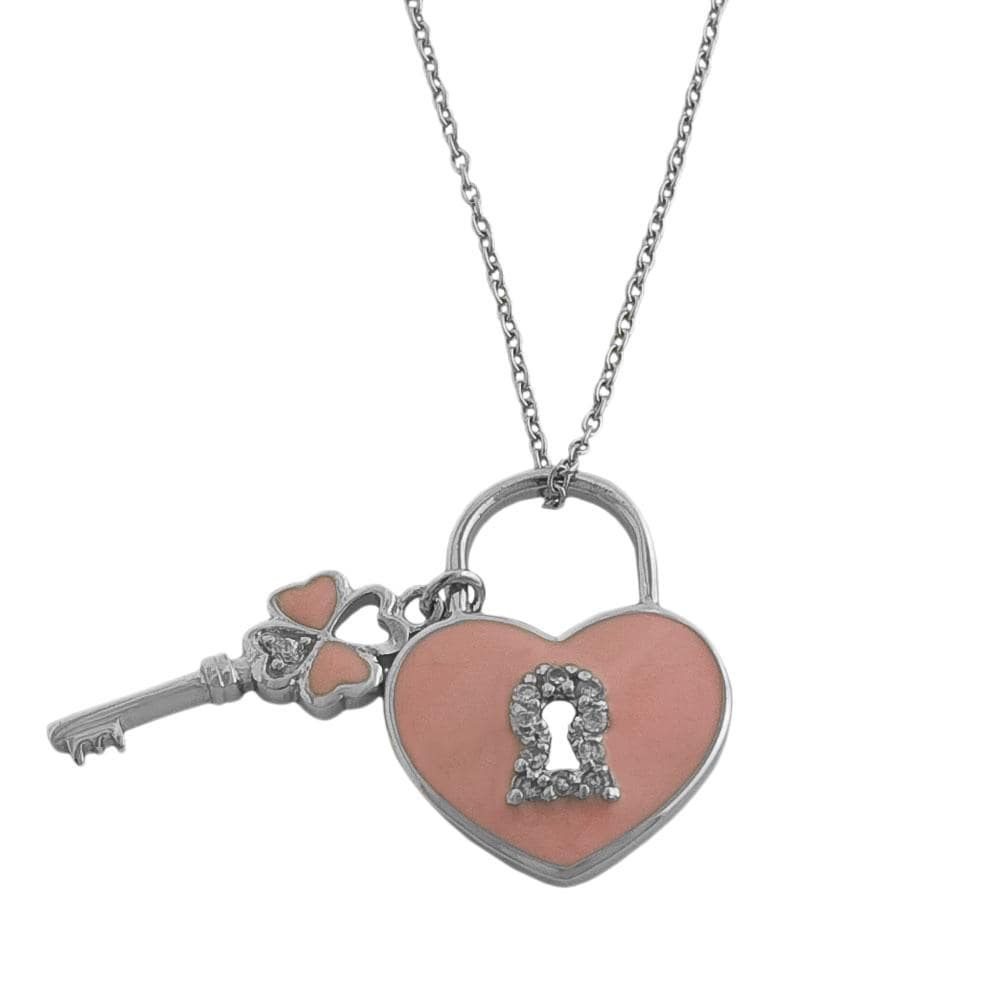 Fremada Rhodiumplated Silver and Pink Enamel Lock and Key Necklace