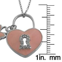 Fremada Rhodiumplated Silver and Pink Enamel Lock and Key Necklace - Thumbnail 2
