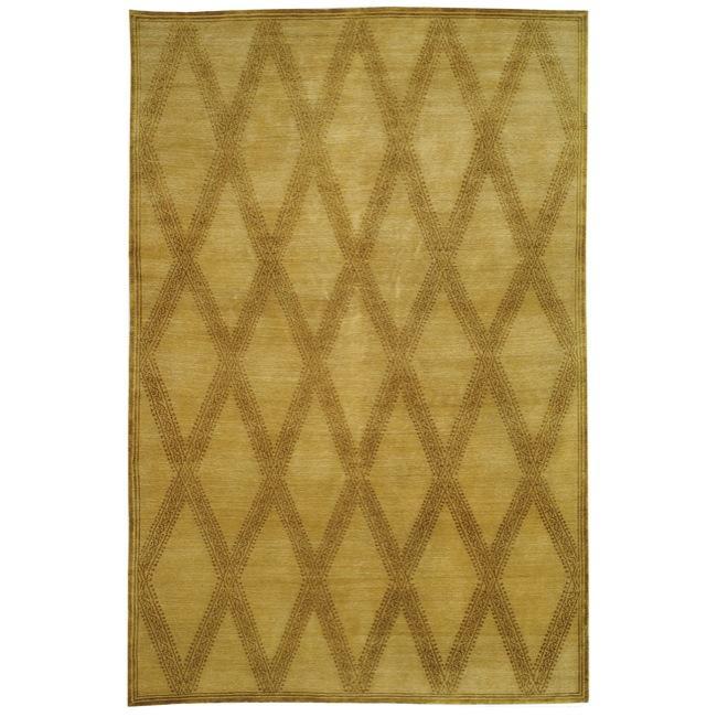 Handmade Thomas O'Brien Martine Sandstone/ Beige Wool Rug - 9' X 12'