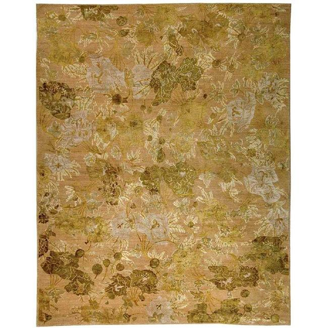 Handmade Thomas O'Brien Margo Julia Moss/ Beige Wool/ Silk Rug - 9' x 12'