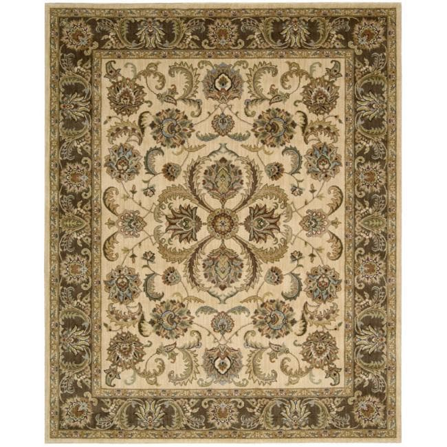 Nourison Antiquities Ivory Brown Floral Rug - 7'9 x 9'9