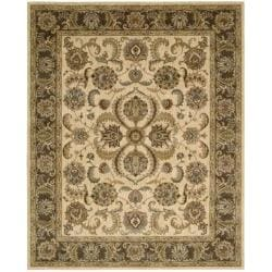 Nourison Antiquities Ivory Brown Floral Rug (7'9 x 9'9) - Thumbnail 1