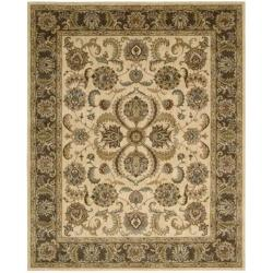 Nourison Antiquities Ivory Brown Floral Rug - 7'9 x 9'9 - Thumbnail 0