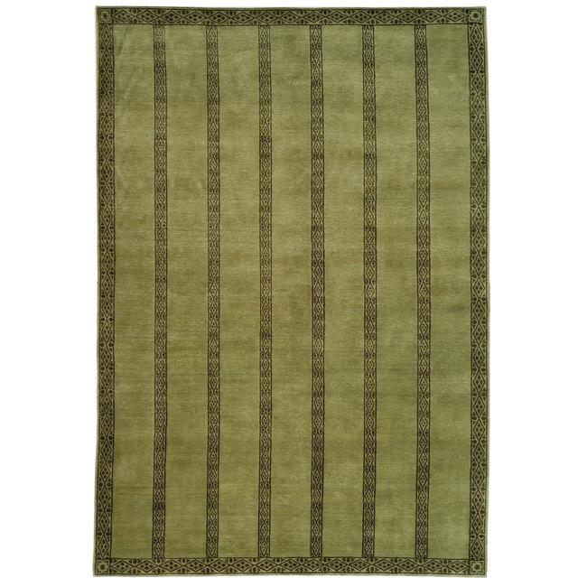 Handmade Thomas O'Brien Marco Olive/ Green Wool Rug (9' x 12')