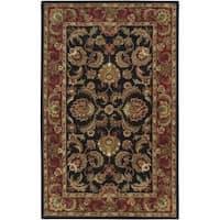 Hand-tufted Grandeur Black Wool Area Rug (8' x 11')