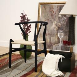 Wishbone Black Wood Y Chair - Thumbnail 1