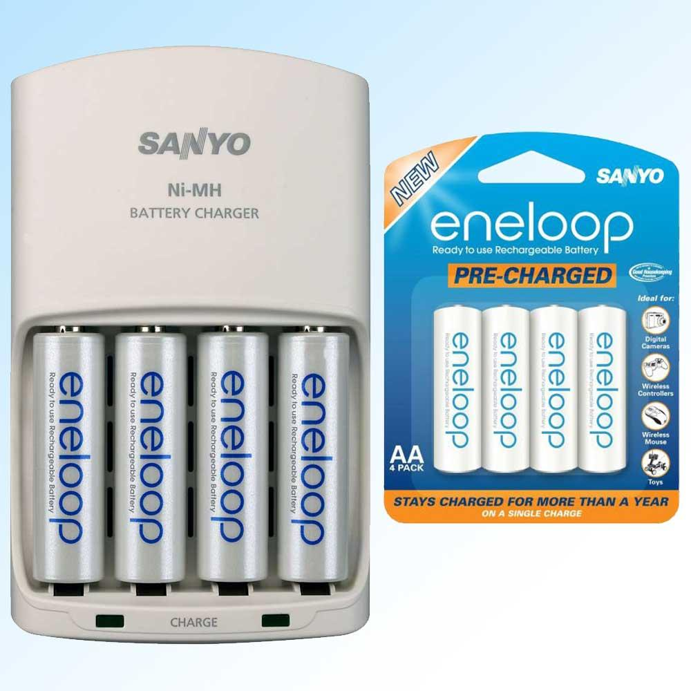 sanyo eneloop aa aaa battery charger with 8 rechargeable aa batteries free shipping on orders. Black Bedroom Furniture Sets. Home Design Ideas