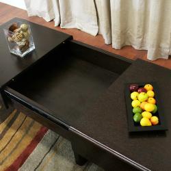 Geneva Dark Brown Wood Sliding Storage Coffee Table Thumbnail 2