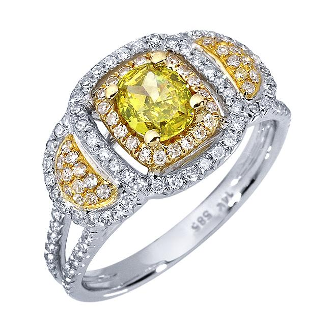 14k Two-tone Gold 1 1/5ct TDW Yellow and White Diamond Ring (G-H, SI1)