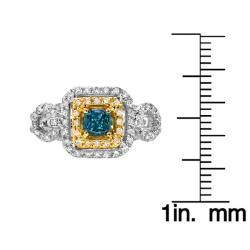 14k Two-tone Gold 3/4ct TDW Blue and White Diamond Ring (G-H, SI1) - Thumbnail 2