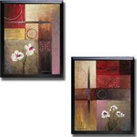 Michael Marcon 'Flowers and Abstract Study I and II' Framed 2-piece Canvas Art Set