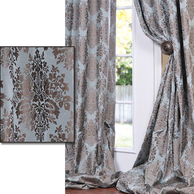 Exclusive Fabrics Medium Teal Blue With Cocoa Brown Patterned Faux Silk 84 Inch Curtain Panel
