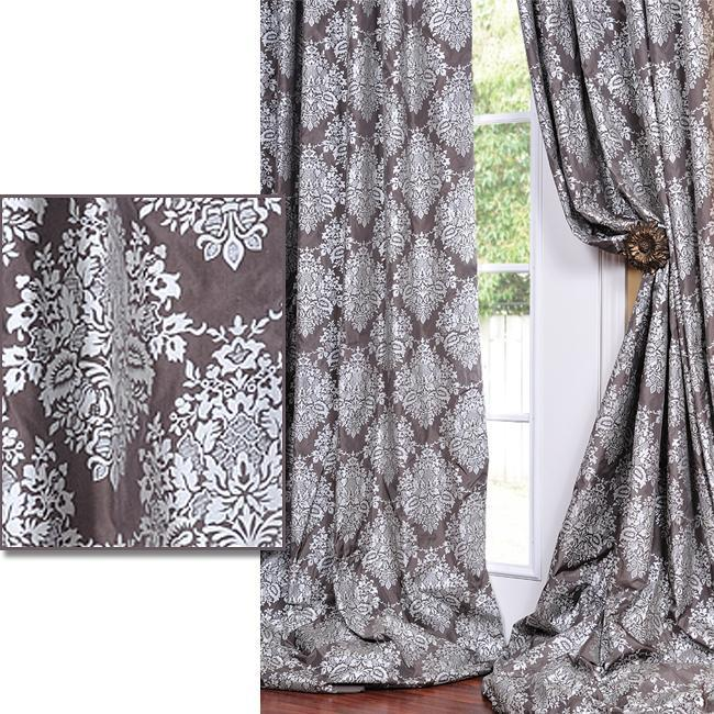 exclusive fabrics charcoal grey with silver metallic pattern faux silk 108inch curtain panel