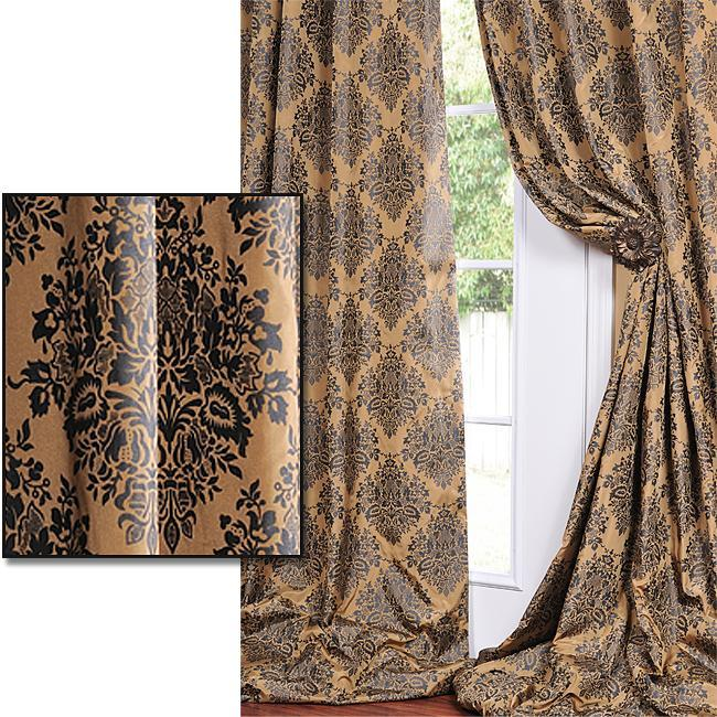 exclusive fabrics golden tan with soft black print faux silk curtain panel 108inch 108 inches curtains u0026