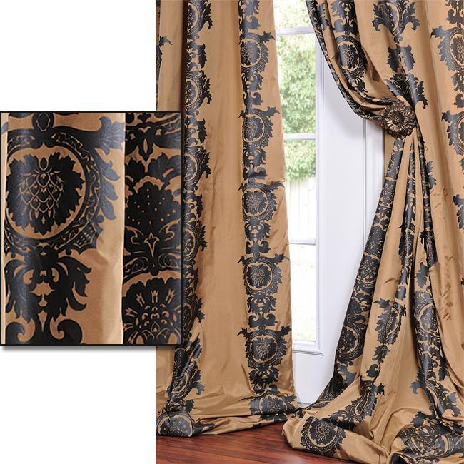 Exclusive Fabrics Golden Tan With A Soft Black Print Faux Silk 96-inch Curtain Panel