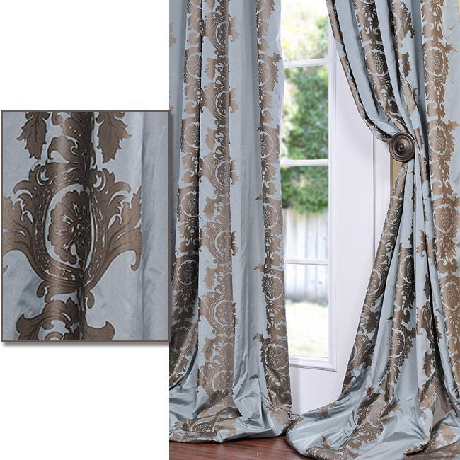 Exclusive Fabrics Medium Teal Blue With Cocoa Brown Print Faux Silk 96-inch Curtain Panel
