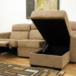 Holcomb Tan Microfiber Storage Chaise And Reclining