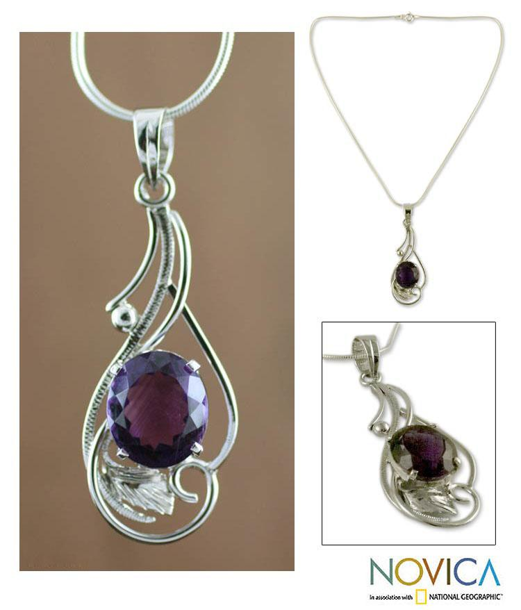 Handcrafted Sterling Silver Sweet Sonnet Purple Amethyst Pendant Necklace (India)