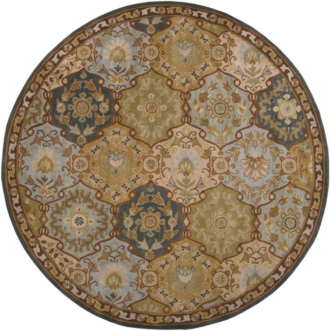Hand-tufted Coliseum Blue Wool Rug (4' Round)