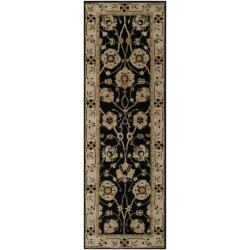 Hand-tufted Coliseum Black Wool Rug (2'6 x 8')