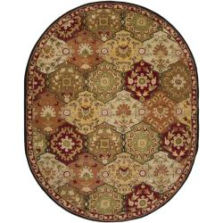 Hand-tufted Coliseum Red Wool Rug (8' x 10' Oval)