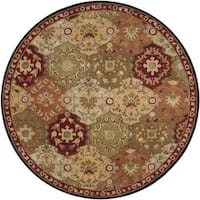 Hand-tufted Coliseum Red Wool Area Rug (8' Round)
