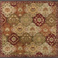 Hand-tufted Coliseum Red Wool Area Rug (8' Square)