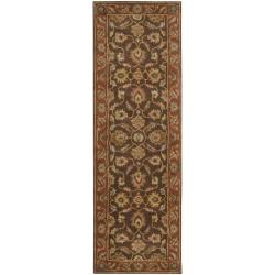 Hand-tufted Coliseum Brown Floral Border Wool Rug (2'6 x 8')