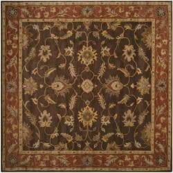 Hand-tufted Coliseum Brown Floral Border Wool Rug (4' Square)