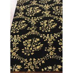 nuLOOM Handmade Modern Premium Wool Black Flower Bed Rug (7'6 x 9'6)