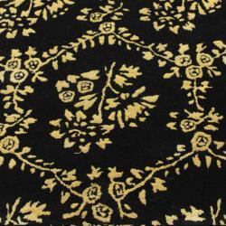 nuLOOM Handmade Modern Premium Wool Black Flower Bed Rug (5' x 8') - Thumbnail 2