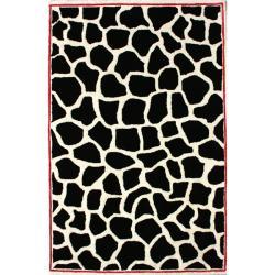 nuLOOM Handmade Modern Premium Wool Black Bold Giraffe Rug - 5' x 8' - Thumbnail 0