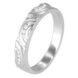 Sterling Silver 1/10ct TDW Diamond Band (H-I, I3) - Thumbnail 1