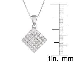 14k White Gold 7/8ct TDW Princess Diamond Pendant (G-H, VS1-VS2) - Thumbnail 2