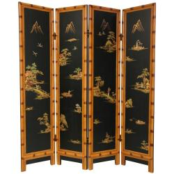 Handmade Wooden 6-foot Black Ching Room Divider (China)