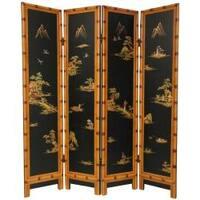 Handmade Wooden 6-foot Black Ching Room Divider (China)