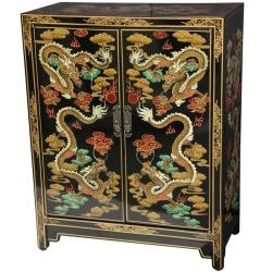 Handmade Wooden 36-inch Black Dragon Shoe Cabinet (China)
