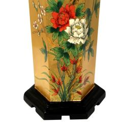 Handmade Elm Wood Gold Leaf Umbrella Stand (China)