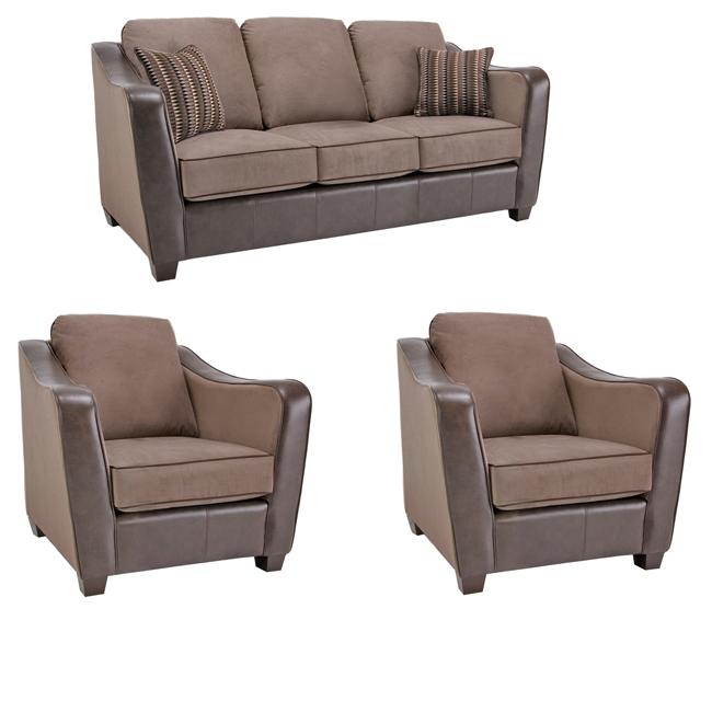 Jaden Chocolate/ Taupe Faux Leather/ Fabric Sofa and Two Chairs