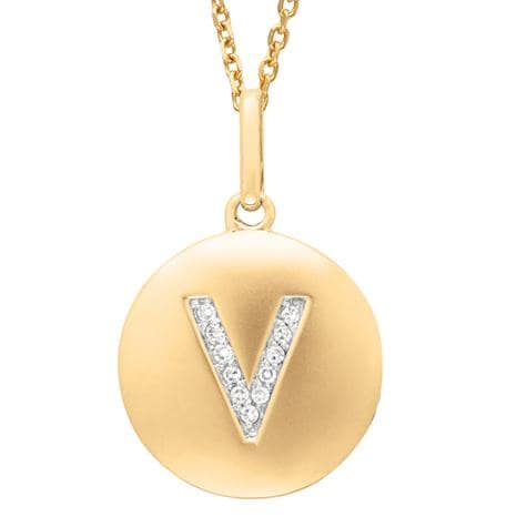 14k Gold Overlay Diamond Accent Initial 'V' Necklace