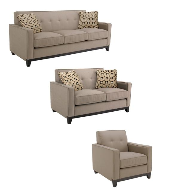 Jazz Pewter Fabric Sofa, Loveseat and Chair