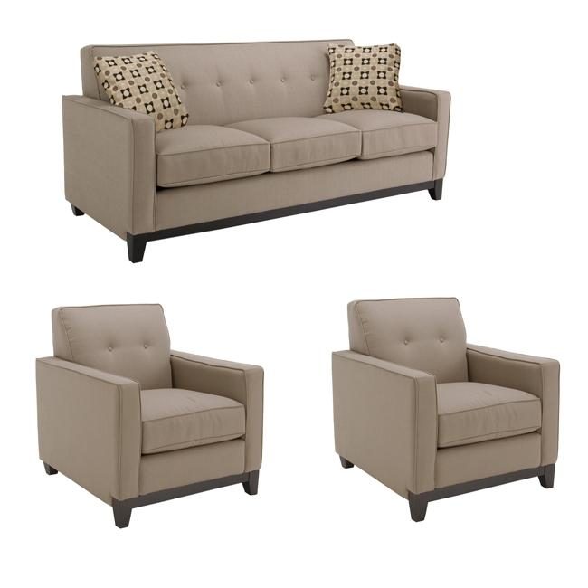 Shop Jazz Pewter Fabric Sofa And Two Chairs Free