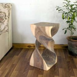 Monkey Pod Wood 23-inch Double Twist White Oil Stool (Thailand)