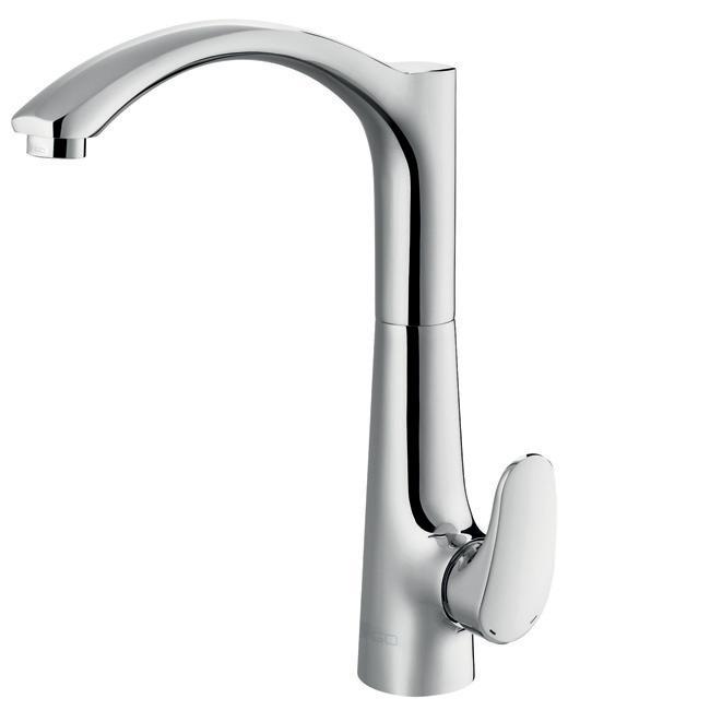 VIGO Andromeda Swan Neck Single-hole Kitchen Faucet