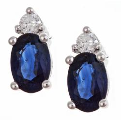 D'Yach 14k White Gold Sapphire and Diamond Accent Stud Earrings